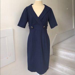 Kay Unger Navy Ponte V-Neck Dress EUC